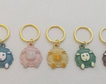 Sheep Stitch Markers// Colourful Knitting Markers// Animal Progress Keepers