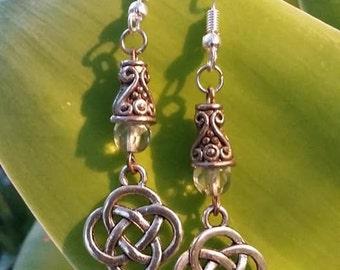 "Celtic ""Knots"" Stud Earrings with swarovski pearls"