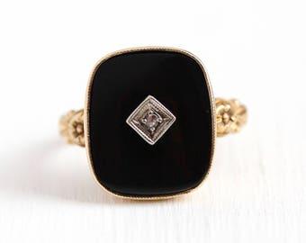 Vintage Onyx Ring - 10k Rosy Yellow Gold Genuine Diamond Black Onyx Statement - 1940s Size 6 1/4 Chalcedony Gemstone Fine Flower Jewelry