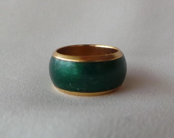 Ring / Ring - vintage LANVIN - brass gold / brass - green enamel Golen / Green enamel size 50