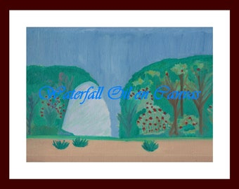 """11""""x14"""" Oil Painting Waterfall"""