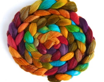 Merino Silk Hand Spinning Roving - Handpainted, Summer Palette