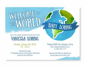 World Baby Shower Invitation, Travel Baby Shower Invite, Welcome to the World Baby Shower, Adventure Awaits, Map Travel theme Baby Shower