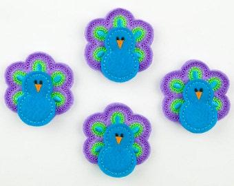PEACOCK - Embroidered Felt Embellishments / Appliques - Turquiose/Purple (Qnty of 4) SCF0190