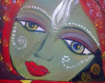 oil painting hindu art original Radha of Radha & Krishna