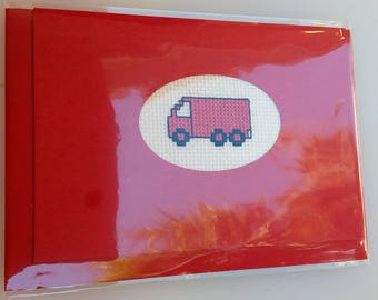 Red truck cross-stitched card