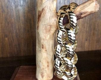 Vintage Gold Tone Link Bracelet - Art Deco Bracelet - Chunky Style Jewelry