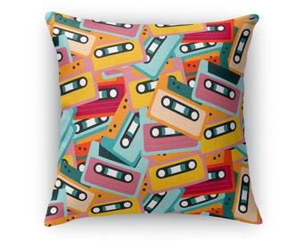 Mixtapes Retro Throw Pillow