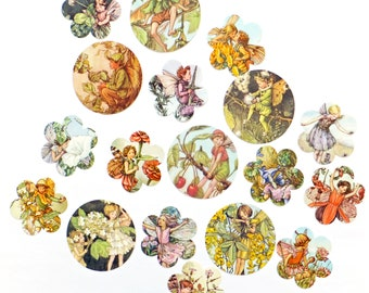 Flower Fairies cut outs, Lucky dip Flower Fairy scrap pack, Kid's scraps, 18 pieces, Paper ephemera pack, collage paper pack, snail mail kit