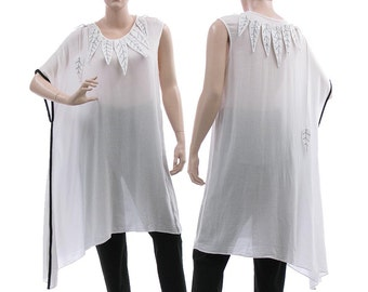 Oversized boho summer tunic in white black, asymmetrical summer tunic with leaves, lagenlook white tunic small to plus size S-L,US size 8-14