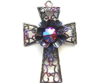 Rustic Cross Pendant, Purple Patina Cross, Verdigris Cross, Handmade Cross Pendant, Ancient Alchemy, Dry Gulch, 1 Pendant, Rienna #2137