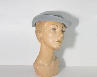 1950s Powder Blue Rhinestone Wool Hat with Back Bow