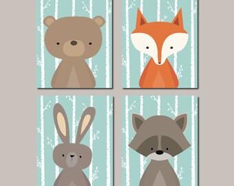 Woodland Nursery Wall Art, Prints Or Canvas, Woodland Animals Nursery Decor, Fox Bear Raccoon, Nursery Pictures, Set of 4