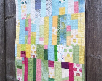 Spring Modern Art Quilt, Wall Hanging, 18 x 22 inches