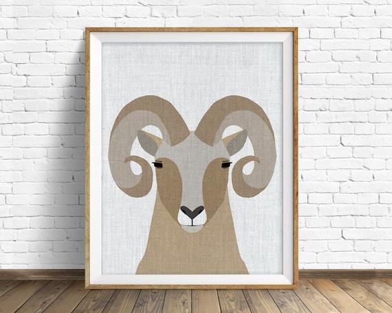 Bighorn Sheep - art print, large art, mid century modern wall art, art for kids, nursery decor, nursery wall art, kids room art, animal art