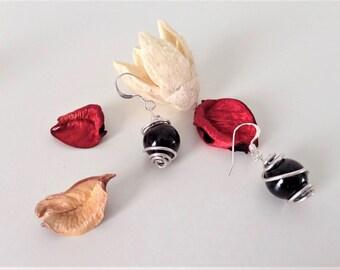 Black (burgundy) garnet and sterling silver handmade earring