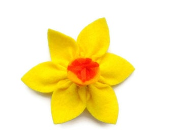 Welsh Daffodil Brooch, St David's Day Brooch, Six Nations Felt Rugby Supporter