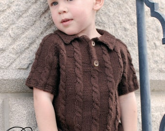 make your own Gentleman's Polo Sweater (DIGITAL KNITTING PATTERN) Toddler Child Tween Boys