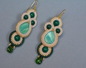 Soutache earrings - vanilla, green - Gift for her