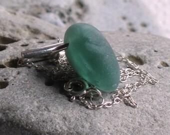 Sea Green Milk Glass Sea Glass Sterling Silver Pendant Necklace (807)