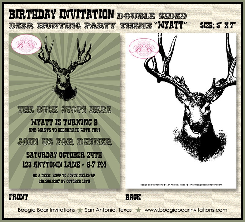 Deer Hunting Birthday Party Invitation Buck Elk Hunting Boy