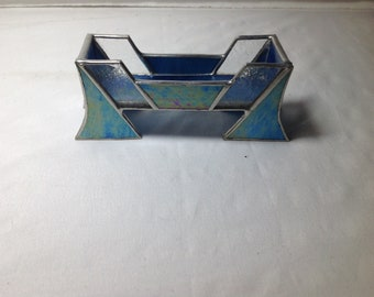 Handcrafted stained glass business card holder