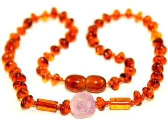 NATURAL BALTIC AMBER Unique Baby Teething Necklace with Amethyst Flower Pendant