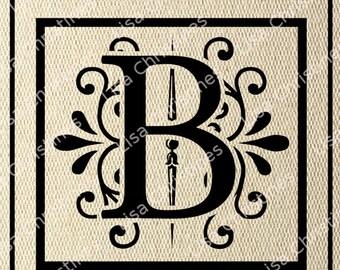 Ornamental Monogram Letter B Digital Image Instant Download 150