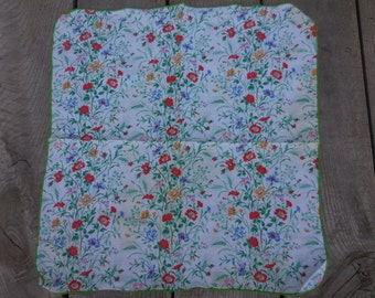 Vintage Fabric Napkin With Tiny Bright Little Flowers Lime Green/Red/Blue/Yellow Pillow Cover Square 1970s to 1980s