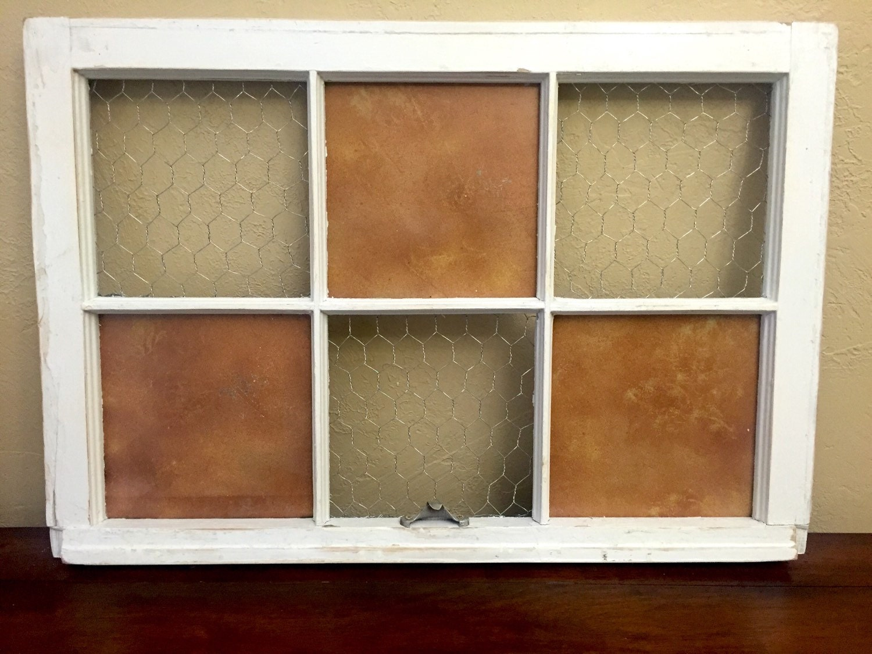 Vintage Window Photo Frame silver chicken wire Copper Metal
