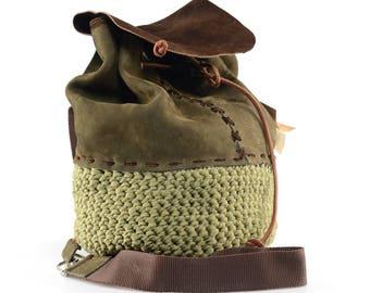 suede/cotton yarn crochet backpack