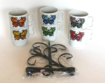 Set of Six 60s Japanese Mod Butterfly Stacking Coffee Cups/Mugs with Mug Tree