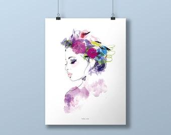 Bohemian portrait poster - print - illustration - size 40 x 60 cm