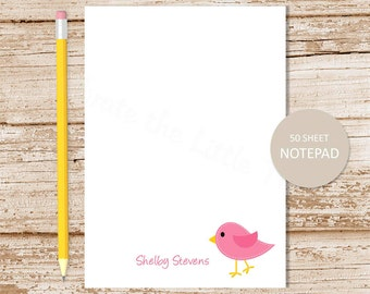 personalized bird notepad . pink bird note pad . personalized stationery . stationary