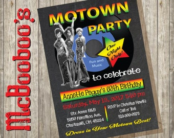 Motown 60's/ 70's Music Record Party invitations on a chalkboard background