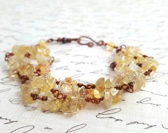 Citrine Bracelet - Yellow Gemstone Chips - Multi Strand Bracelet - Copper Wire Wrap Bracelet - Layered Bracelet - November Birthstone - Boho