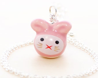 Pink Kawaii Bunny Necklace Bubbles - Rabbit Pendant - Bunny Rabbit Jewelry - Kawaii Jewelry - Rabbit Necklace - Pet Bunny - Bunny Jewelry