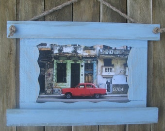 Cuba Havana Photo With Frame, Rustic photo frame, Old photo, Vintage gift, Old car, Old town,