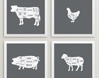 Set of 4 butcher prints – Butcher posters – Butcher chart – Butcher diagram – Meat cuts prints – Animal prints – Kitchen art – BUT002