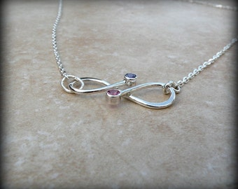 Infinity necklace, Infinity clasp necklace, Birthstone infinity, Anniversary necklace, Bridal jewelry, Best friends necklace