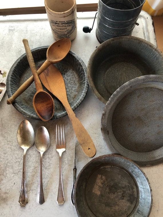 vintage lot of wooden and enamelware food photography props - Baking group