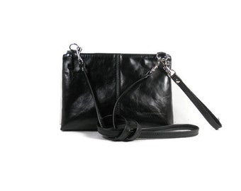 Small Leather Crossbody Bag, Black Leather Purse, Leather Shoulder Bag, Convertible Bag, Leather Bag Handmade, Crossbody Purse, Made in USA