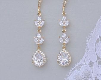 Gold Crystal Earrings, Crystal Wedding Earrings, Crystal Chandelier Earrings, White & Rose Gold Options,  HAYLEY GC