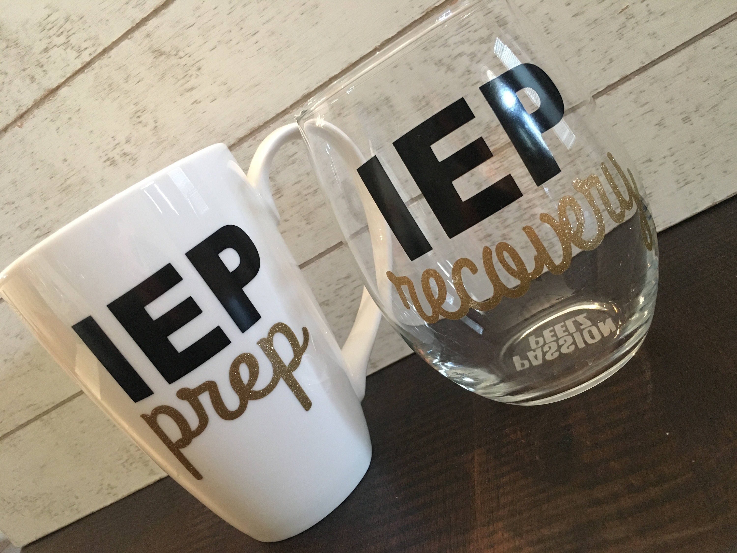 iep 504 prep and recovery mug and wine glass education