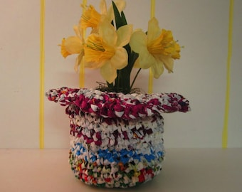 Hat or Cache Pot - You Decide!  Purple/Blue Plarn Basket with wide rim makes a funky hat too!