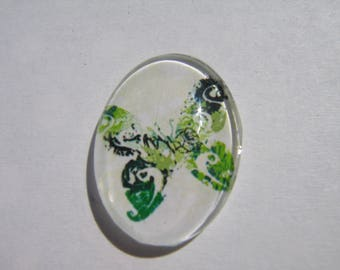 Cabochons 25 x 18 mm with a Green Butterfly image