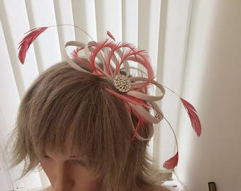 White and coral  sinamay fascinator, hair accessories, can be custom made to match your outfit