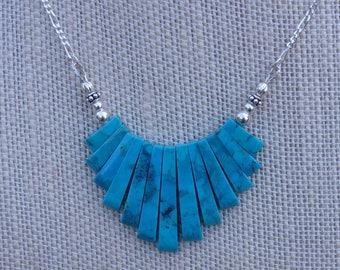 Turquoise véritable 13 pièce conique bande maîtresse collier