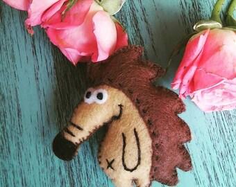 hedgehog Brooch, Cute Felt Brooch, Forest animal brooch, Woodland animal, Gift For Her, hedgehog pin, Gift For Kids, handmade brooch
