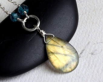 "Labradorite Necklace, London Blue Topaz, Sterling Silver - ""Golden Sea"" by CircesHouse on Etsy"